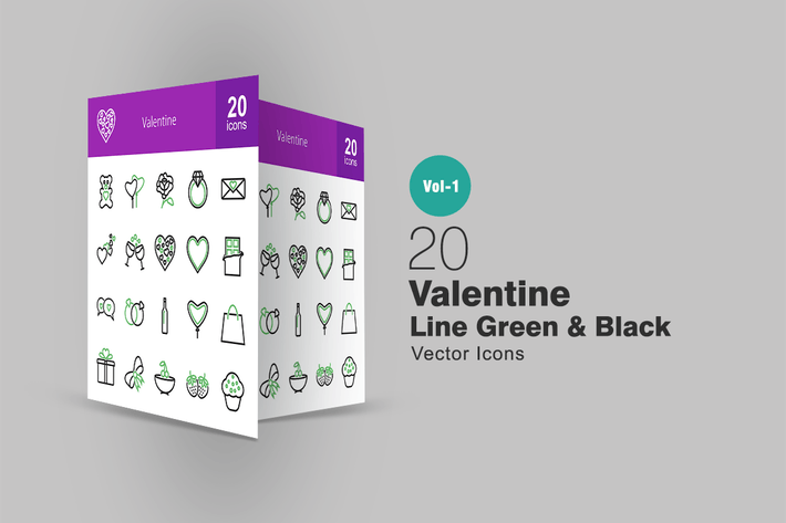 Thumbnail for 20 Valentine Line Green & Black Icons