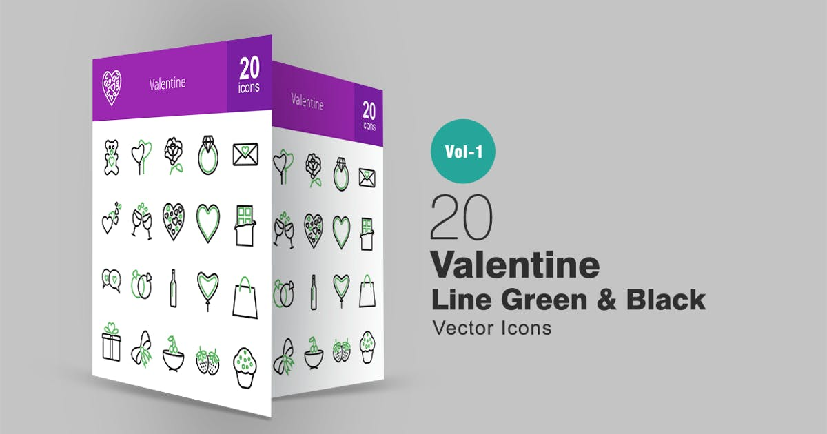 Download 20 Valentine Line Green & Black Icons by IconBunny