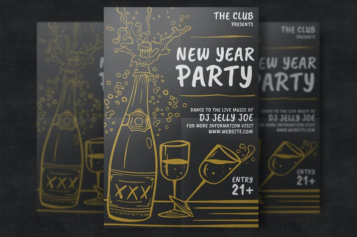 Thumbnail for Hand-Drawn New Year Party Template.