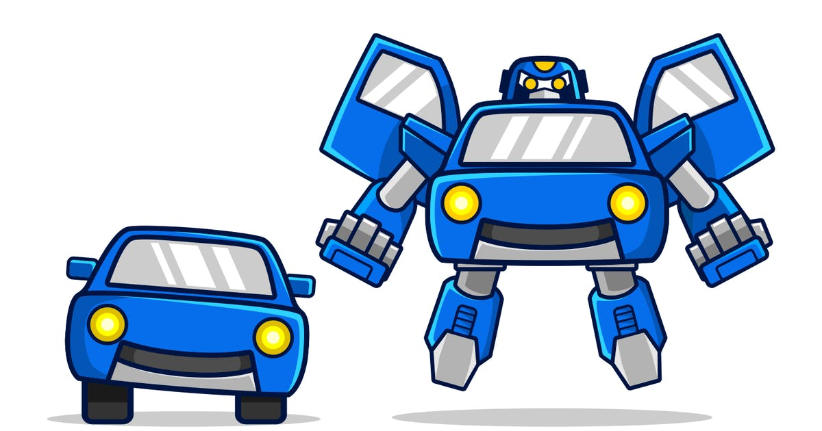 Download Blue robot car transfom and fly by Rexcanor