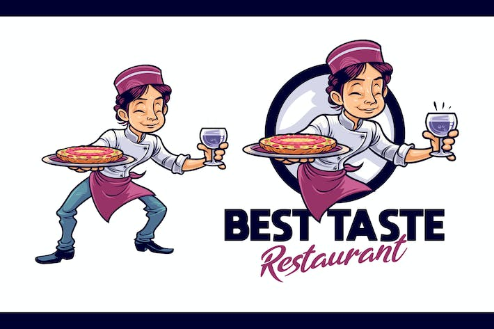 Cover Image For Cartoon Serving Pizza Boy Character Mascot Logo