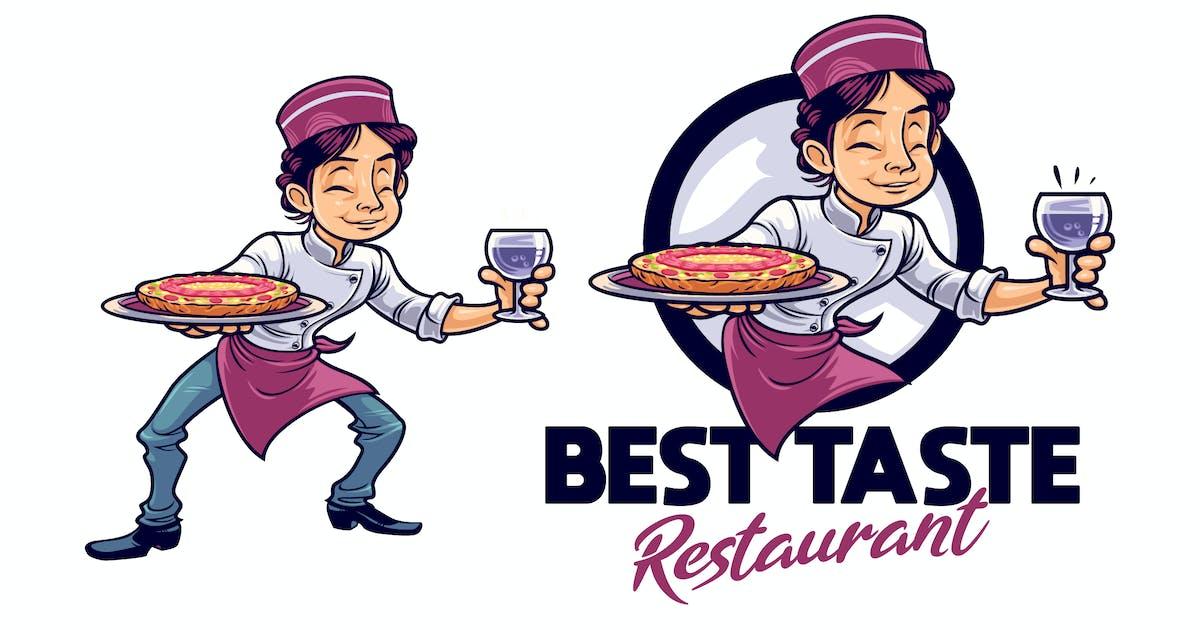 Download Cartoon Serving Pizza Boy Character Mascot Logo by Suhandi