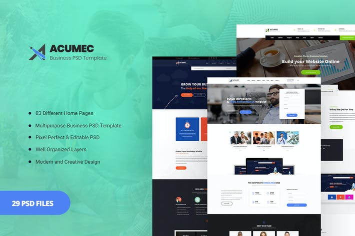 Thumbnail for Acumec - Business Multipurpose PSD Template