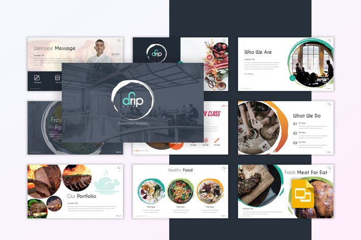 Thumbnail for Капельное кафе - Ресторан Google Слайды Шаблон