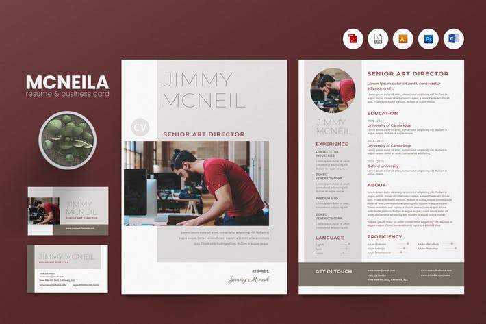 Creative CV Resume & Name Card PSD, DOCX, AI No.17