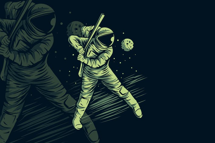 Astronaut Baseball on Space