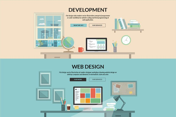 Thumbnail for Set of Flat Design Concepts for Web Development