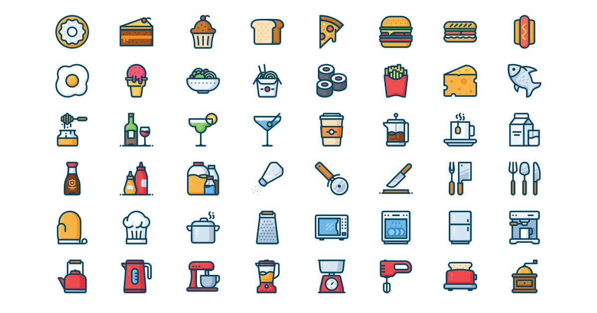 Download 56 Kitchen and food icons by mir_design