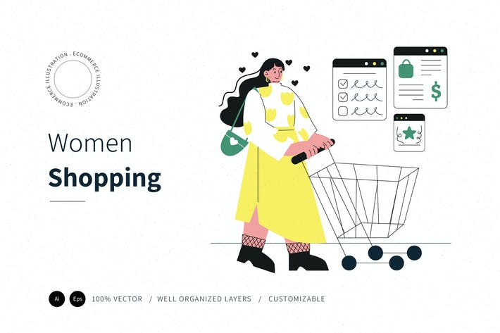 Women Shopping Illustration