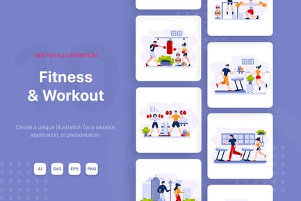 Fitness & Workout vector Illustrations