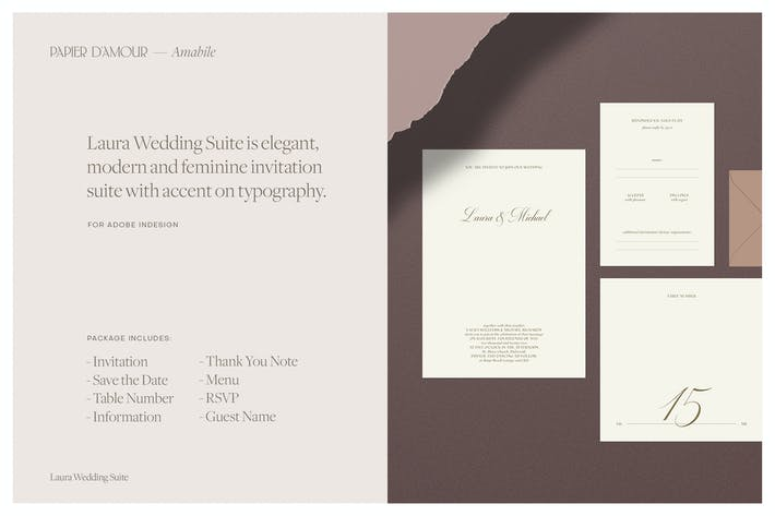 Thumbnail for Laura Wedding Suite - Indesign Template