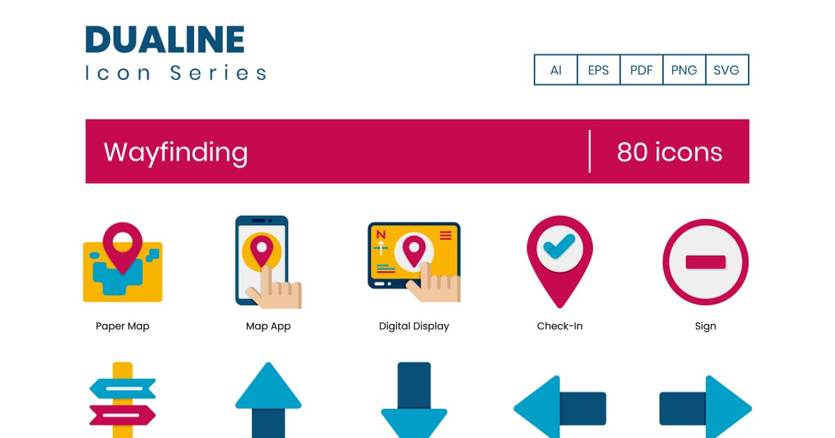 Download 80 Wayfinding Icons - Dualine Flat Series by Krafted