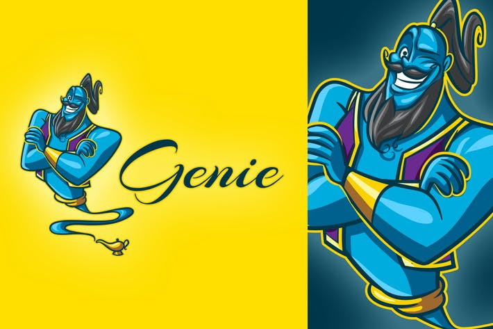 Thumbnail for Cartoon Genie Mascot Logo