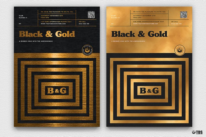 Thumbnail for Minimal Black and Gold Flyer Template V9