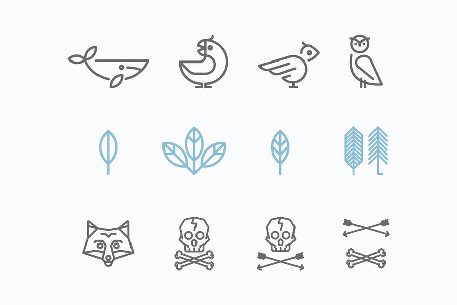 Logo with the Animals in the Style of Hipster. Tre