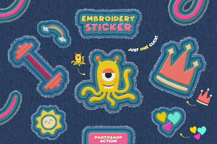Thumbnail for Embroidery Sticker - Photoshop Action