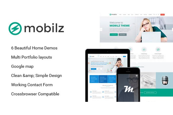 Thumbnail for Mobilz - Responsive Multi-Purpose HTML Template