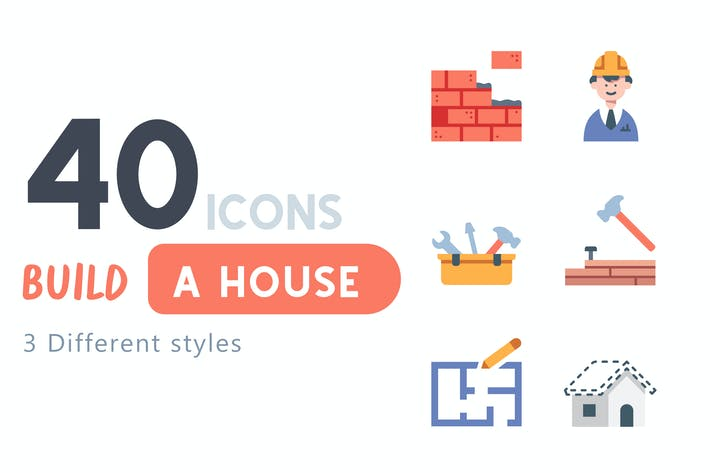 Thumbnail for 40 Build a house icon set