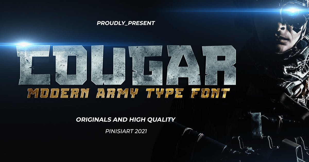 Download COUGAR - modern military Font by pinisiart