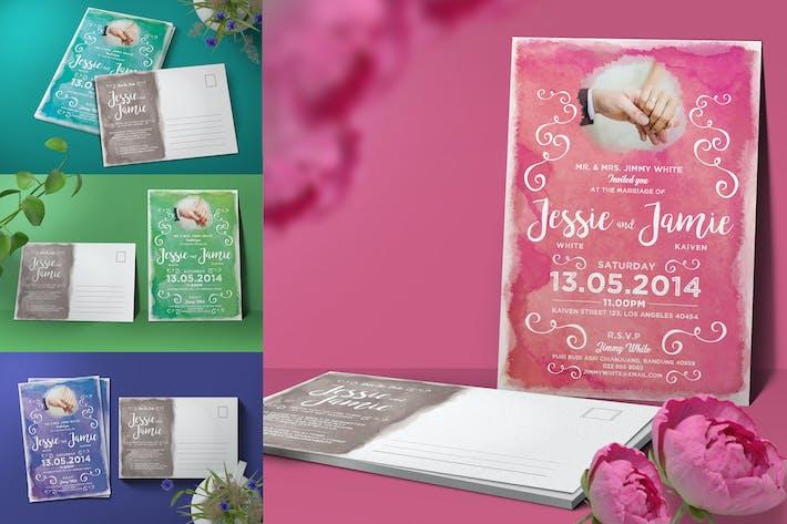 Thumbnail for Carte postale aquarelle invitation de mariage