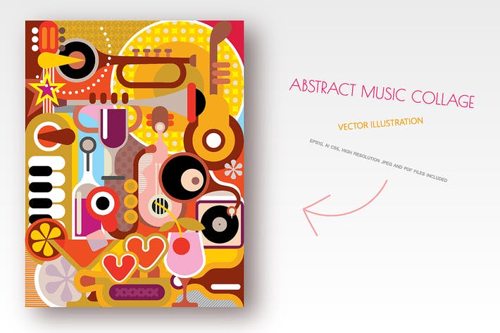 Thumbnail for Abstract Music Collage vector illustration