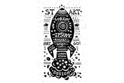 Illustration of vintage grunge label with rocket