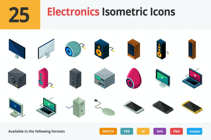Thumbnail for Electronics Vector Isometric Icons