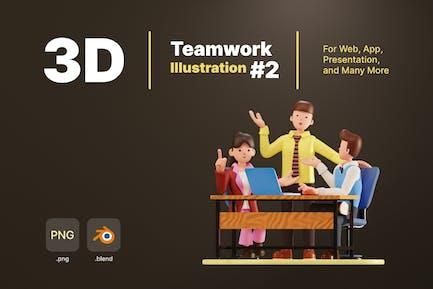 Ilustración de trabajo en equipo 3d - 2
