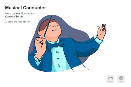 Musical Conductor Vector Illustration