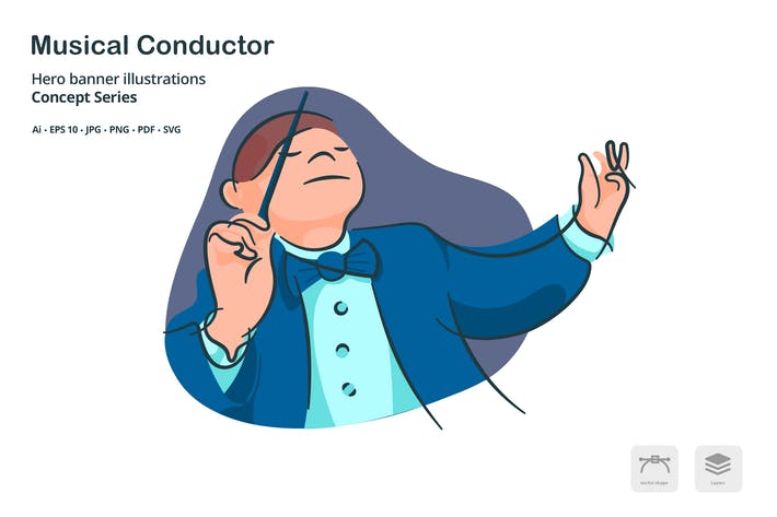 Thumbnail for Musical Conductor Vector Illustration