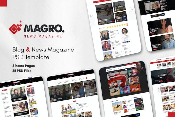 Thumbnail for Magro - Blog & News Magazine PSD Template