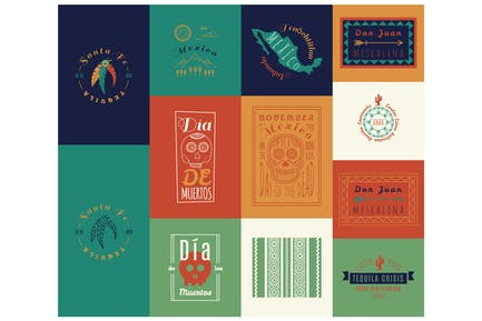 Mexican set Insignias   Day of the Dead