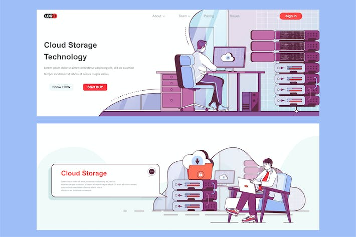 Thumbnail for Cloud Storage Header Footer or Middle Content