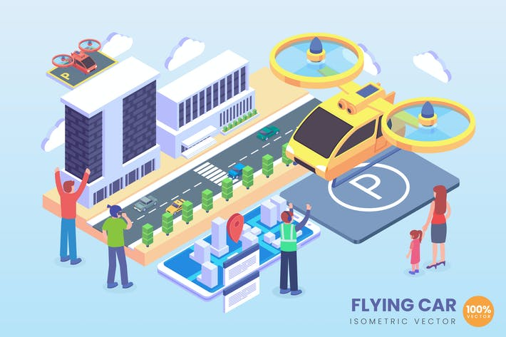 Thumbnail for Isometric Flying Car Technology Vector Concept
