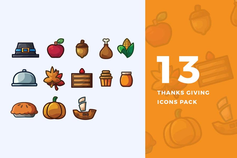 13 Thanks Giving Icons Pack