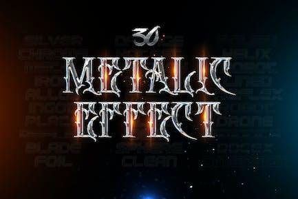30 Metallic Type Effects - Photoshop -