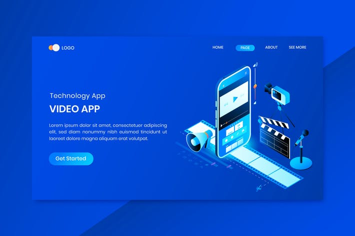 Thumbnail for Film App  Isometric Concept Landing Page