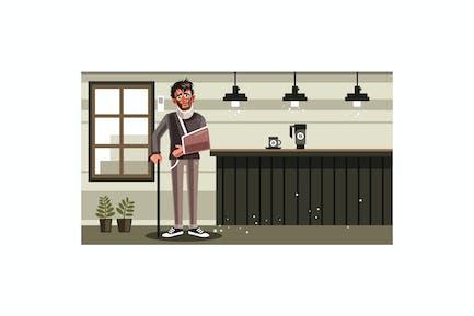 Sad Man with Broken Arm Graphics Illustration