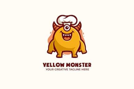 Funny Yellow Monster Mascot Character Logo