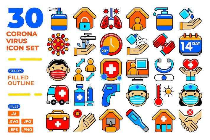 Thumbnail for Coronavirus Icon Set (Filled Outline)