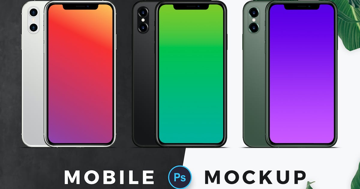Download Three Color Mobile Mockup by VictorThemes