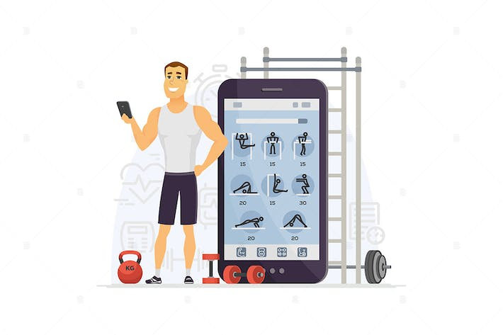 Thumbnail for Fitness app - cartoon character illustration