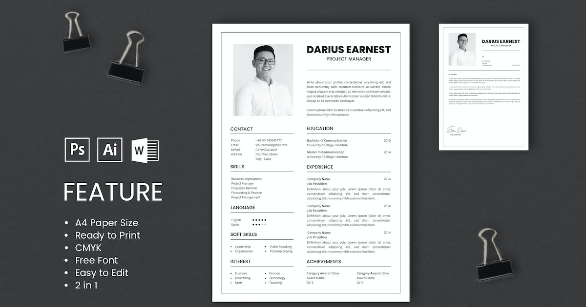 Download Professional CV And Resume Template Darius by WPBootstrap