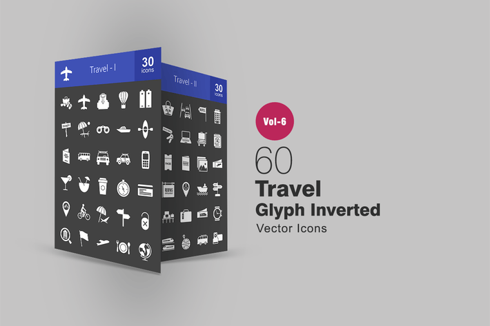 Thumbnail for 60 Travel Glyph Inverted Icons
