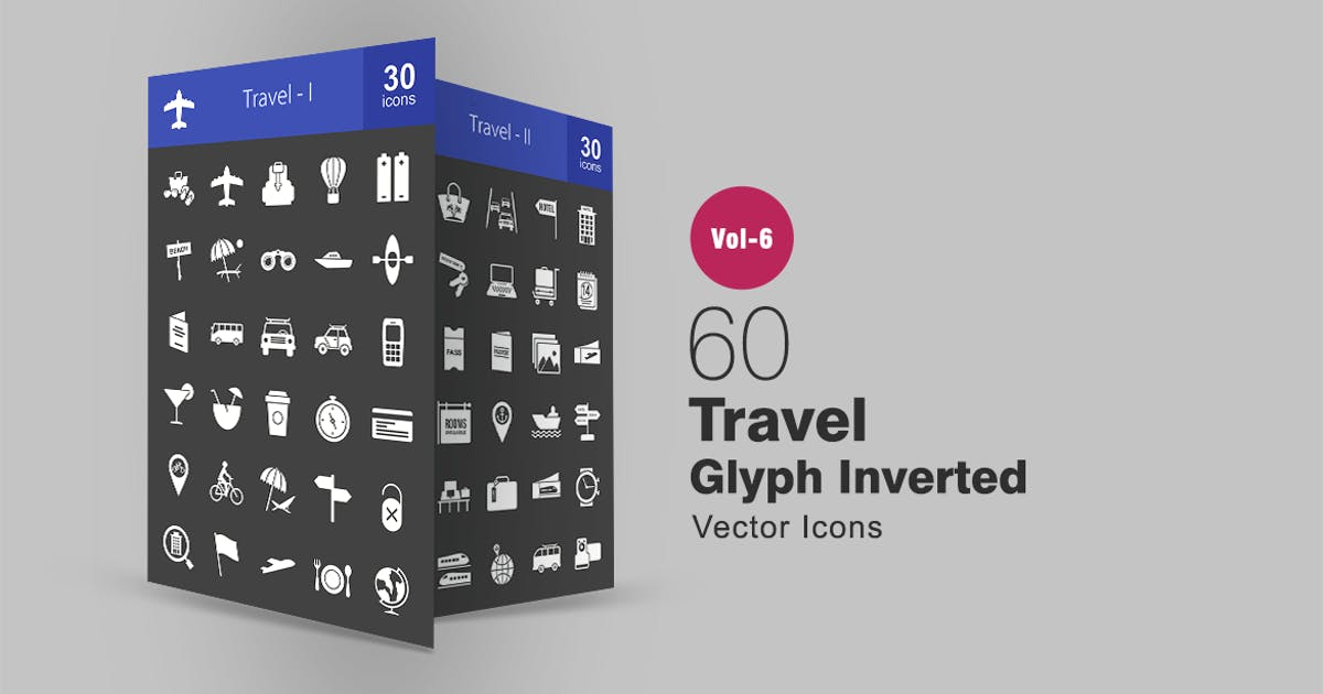 60 Travel Glyph Inverted Icons by IconBunny