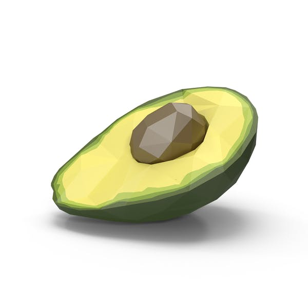 Low Poly Avocado Halbiert