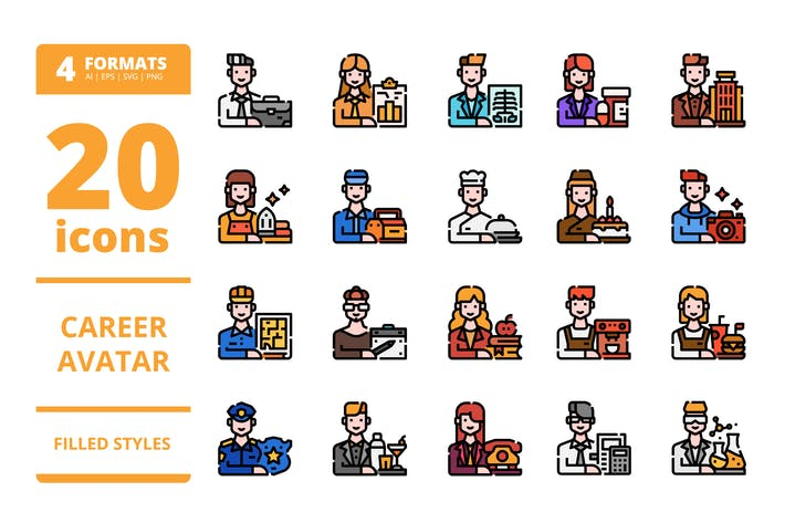 Thumbnail for Career avatar Filled icons packs