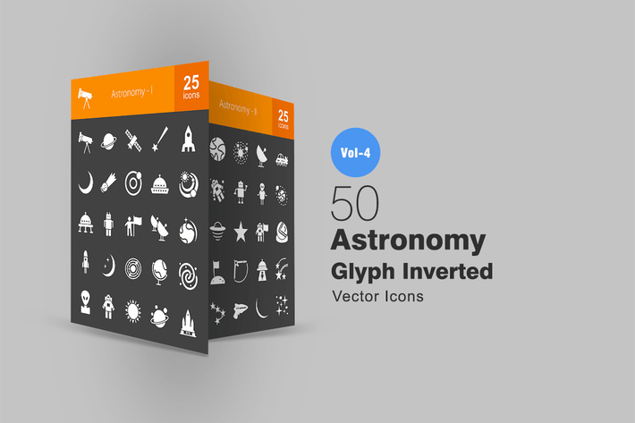 Thumbnail for 50 Astronomy Glyph Inverted Icons