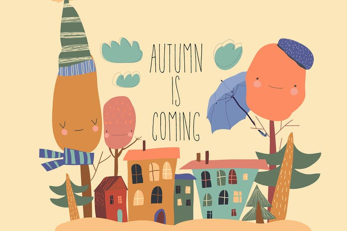 Thumbnail for Cute little town with autumnal trees in cartoon