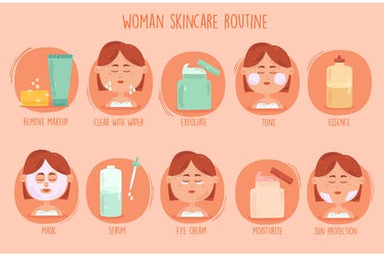 Women Skincare Routine Illustration
